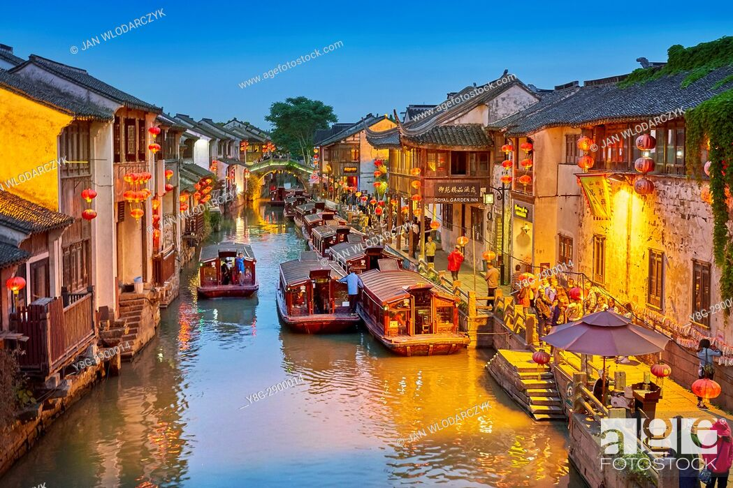 Stock Photo: Shantang Canal at evening, Suzhou, China.