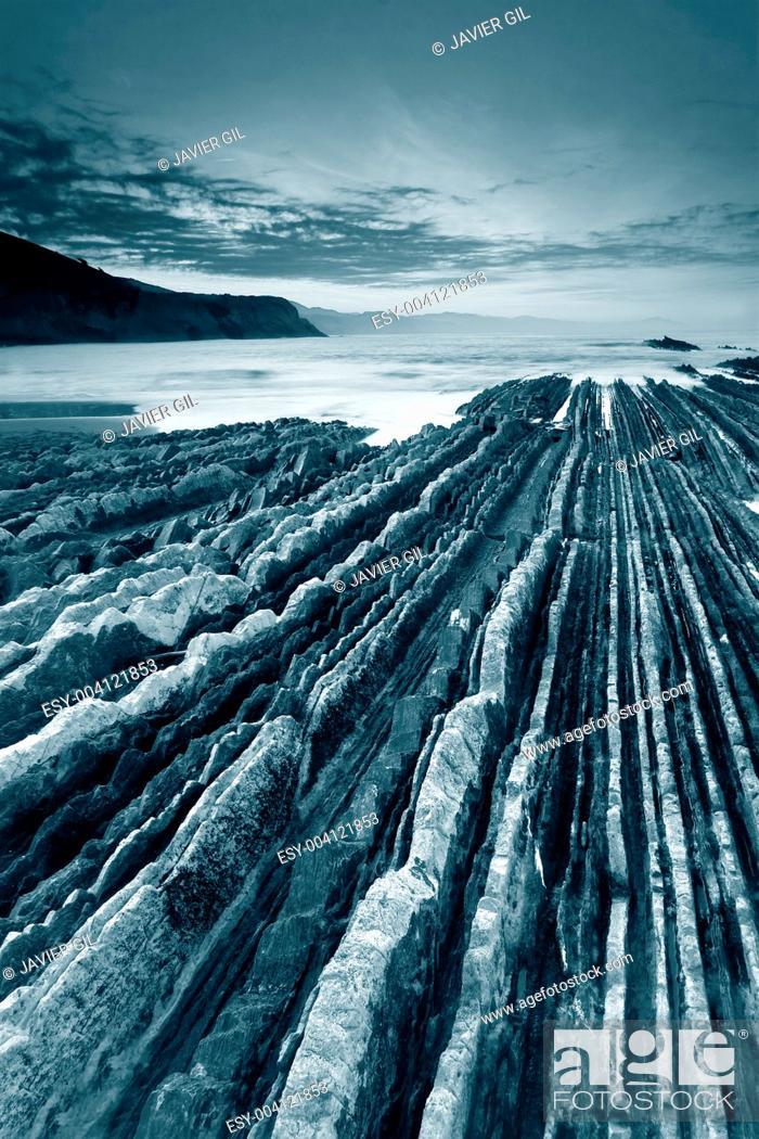 Stock Photo: Cliffs of Zumaia, Gipuzkoa, Basque Country, Spain.