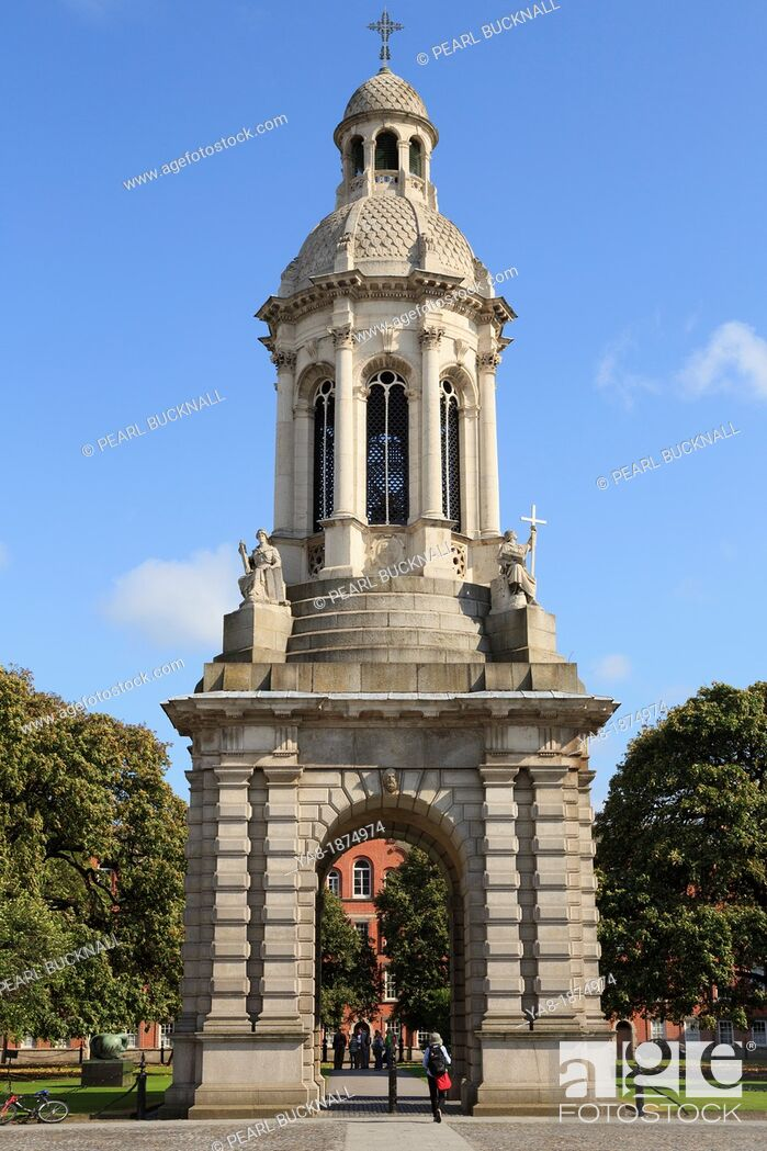 Stock Photo: College Green, Dublin, Republic of Ireland, Eire, Europe  The Campanile or bell tower in Parliament Square in the campus of Trinity College University of Dublin.