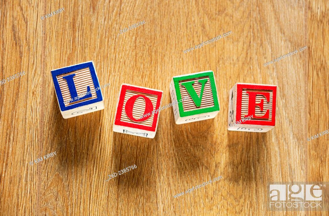 Wooden bricks spelling the word love, Stock Photo, Picture