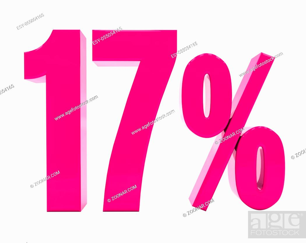 Stock Photo: 3d Illustration 17 Percent Discount Sign, Sale Up to 17, 17 Sale, Pink Percentages Special Offer, Save On 17 Icon, 17 Off Tag, 17 Percentage Sign, Percentage 3d.
