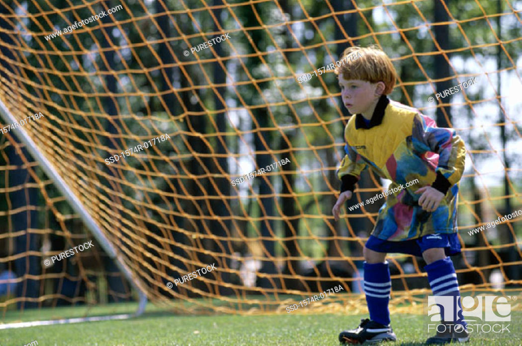 Stock Photo: Goalie standing in the goal.