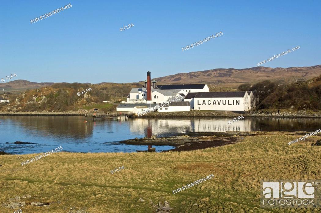 Stock Photo: Lagavulin Malt Whisky Distillery, buildings and coastline, Islay, Inner Hebrides, Scotland.