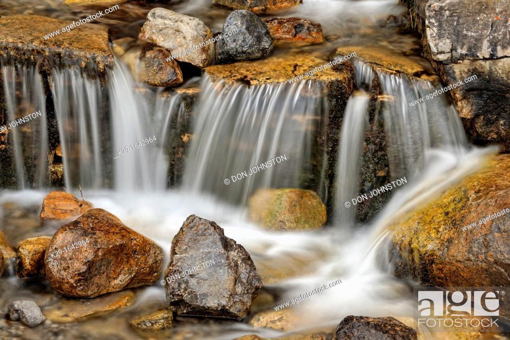 Stock Photo: O'Shaughnessy Creek waterfall, Kananaskis country, Alberta, Canada.