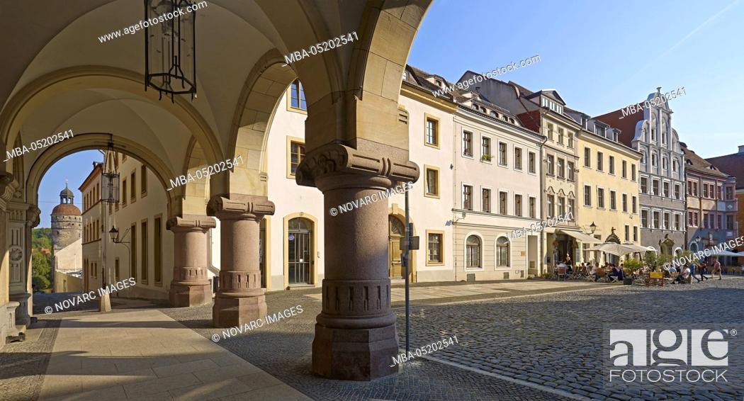 "Stock Photo: Rathausarkaden am Untermarkt with Nikolaiturm in G""rlitz, Saxony, Germany."