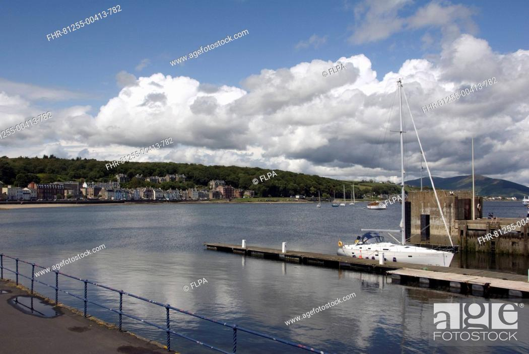 Stock Photo: View of jetty and coastal town, Rothesay, Isle of Bute, Argyll and Bute, Scotland, july.