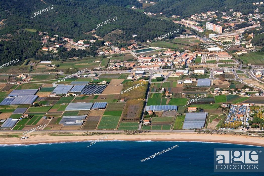 Stock Photo: Spain, Catalonia, Barcelona, El Maresme, beaches and farmlands between Santa Susanna and Pineda.