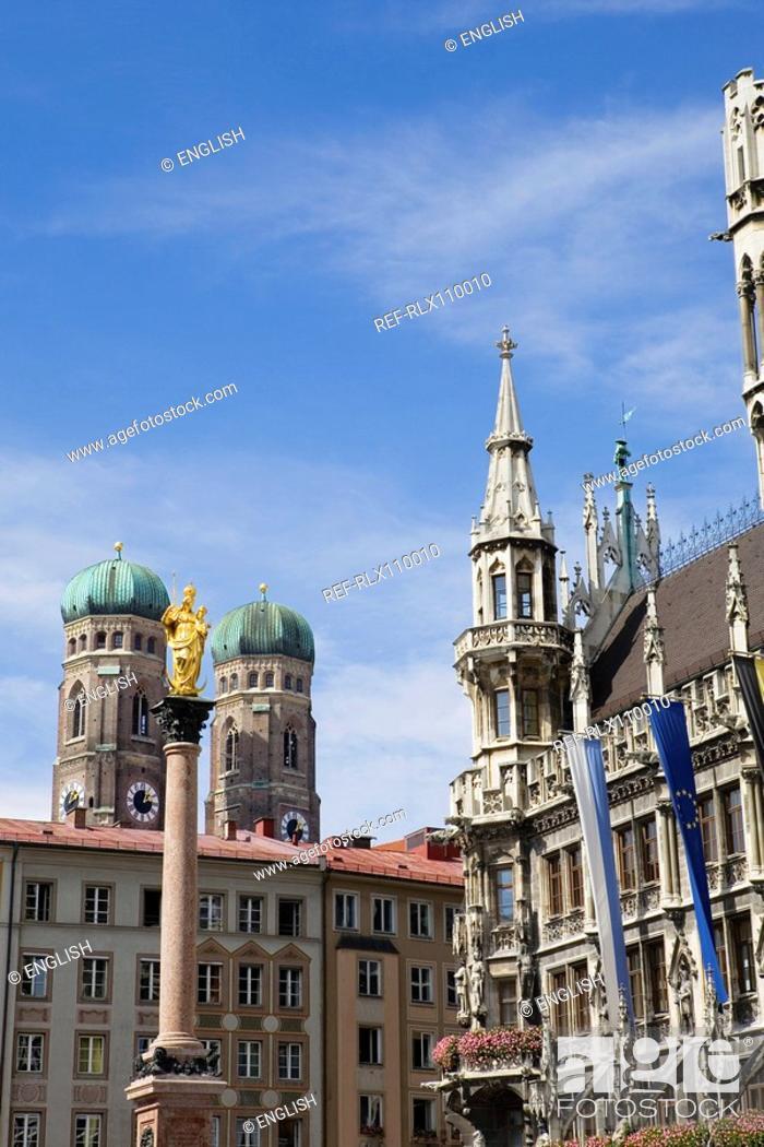 Stock Photo: Marienplatz and Frauenkirche church towers, Munich, Germany.