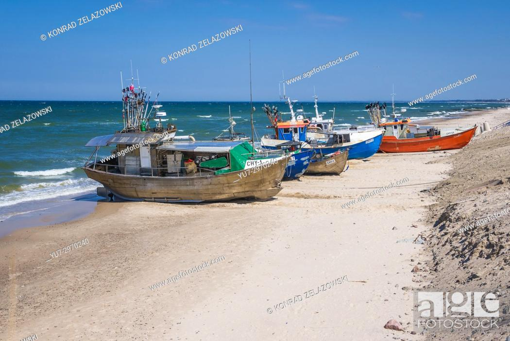 Stock Photo: Fishing harbor in Chlopy village, Koszalin County in West Pomeranian Voivodeship of Poland.