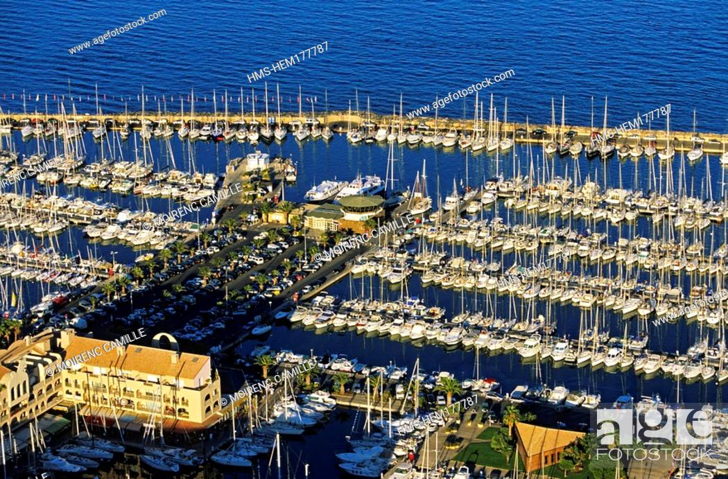 Stock Photo: France, Var, Hyeres, harbour aerial view.