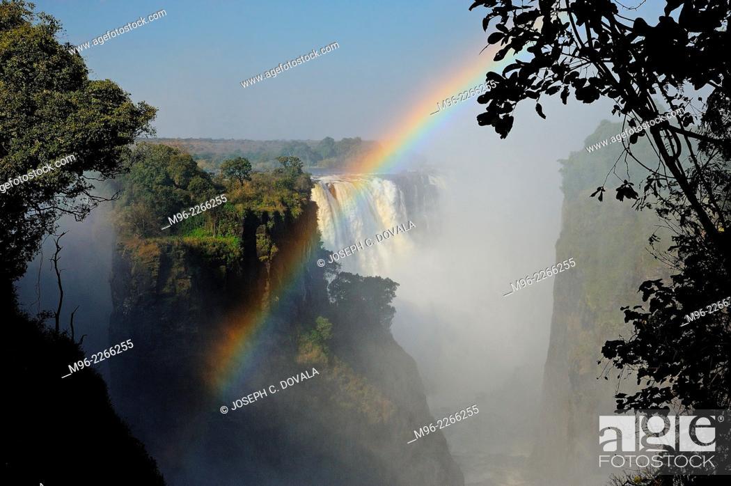 Stock Photo: Falls looking toward south, Victoria Falls, Zimbabwe, Africa.