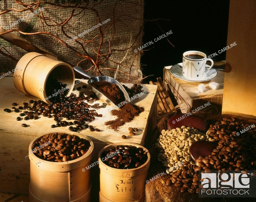 Stock Photo: Coffee beans, ground coffee and a cup of coffee.