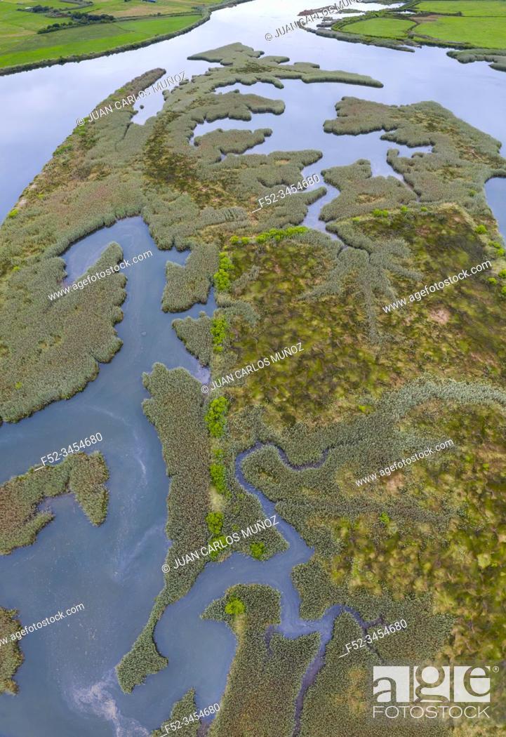 Stock Photo: Aerial View, Ria de Limpias, Limpias, Marismas de Santoña, Victoria y Joyel Natural Park, Cantabrian Sea, Cantabria, Spain, Europe.
