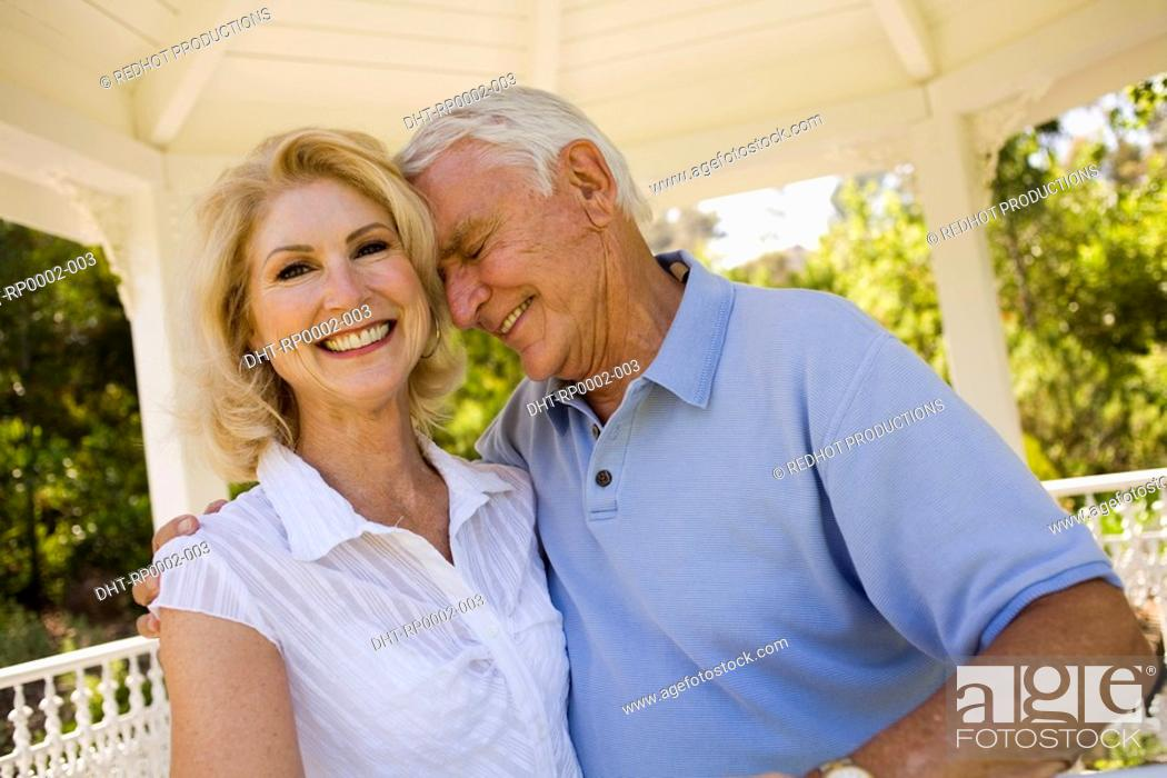 Stock Photo: A couple in a gazebo.