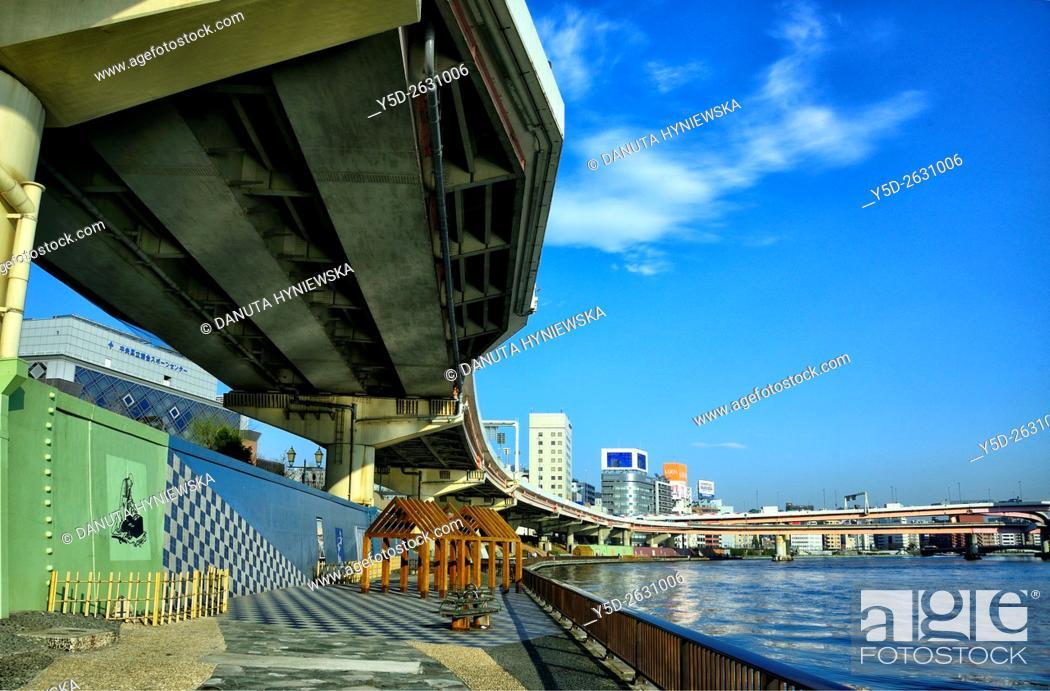 Stock Photo: Urban landscape od Tokyo, Metropolitan Expressways number 6 and number 7 over Sumida river, Nihonbashi-hamacho, Chuo , Chuo-ku, Tokyo, Japan.