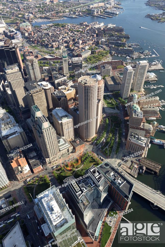 Stock Photo: Greenway aerial view, Boston, MA.