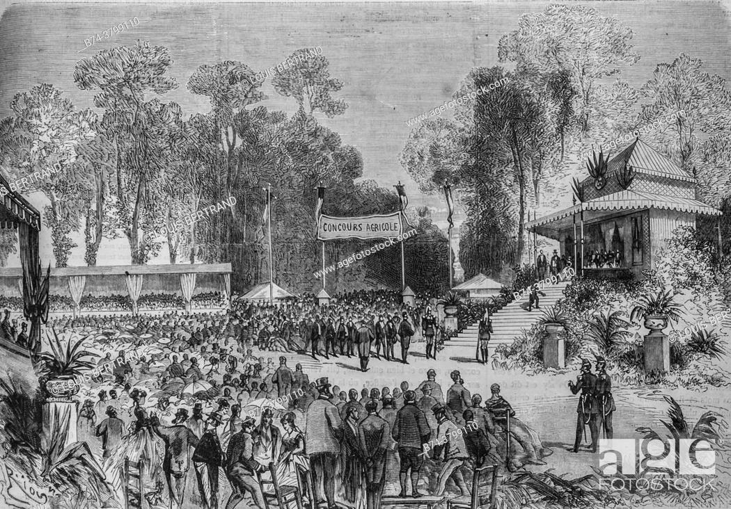 Stock Photo: journey of their majesties the emperor and the empress has rouen to the agricultural competition, the illustrious universe, editor michel levy 1868.
