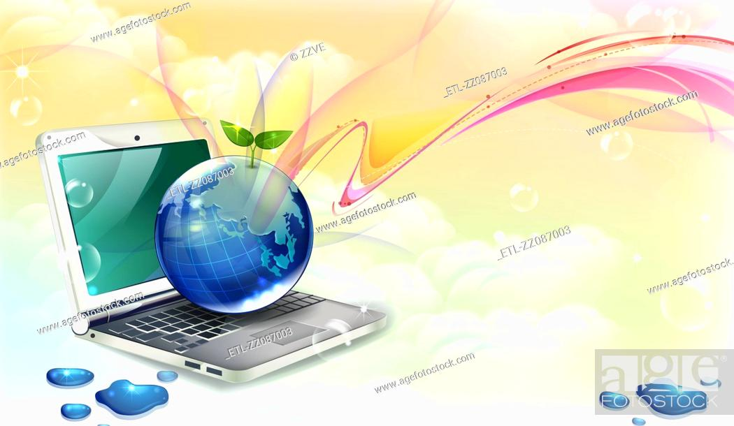 Stock Photo: Computer laptop vector with globe.