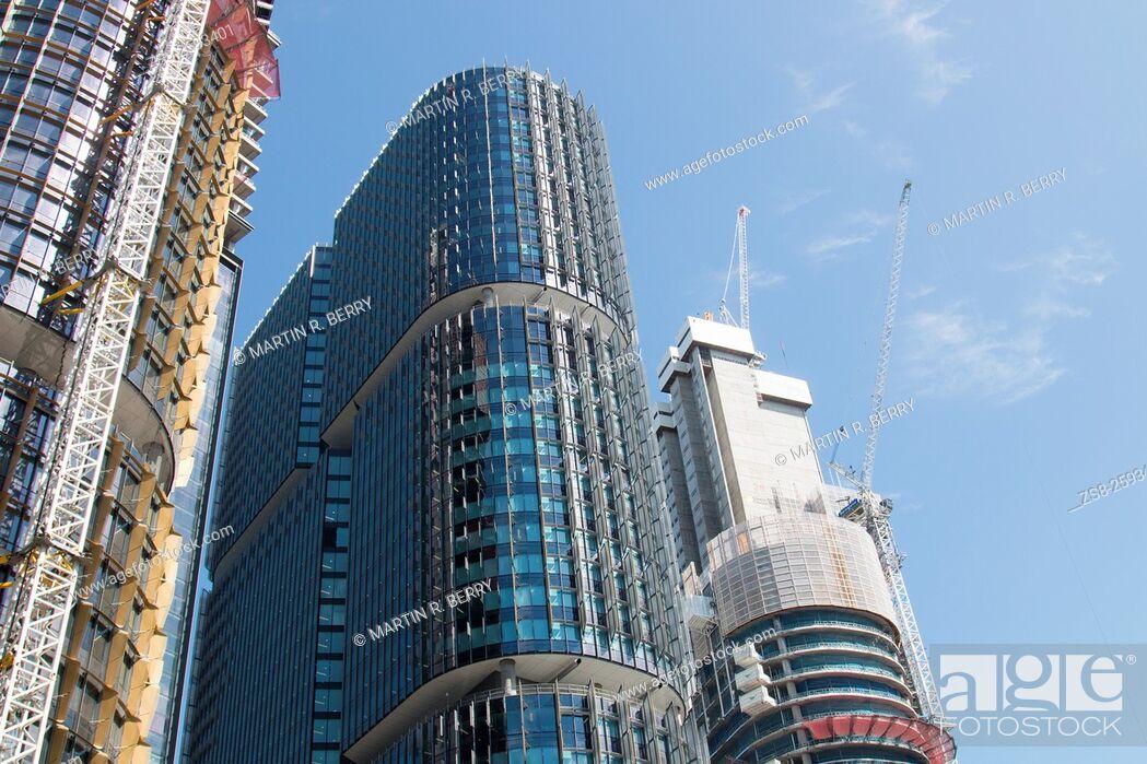 Stock Photo: Construction of Office Towers at Barangaroo in Sydney city centre, Australia.