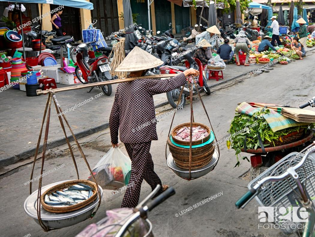 Stock Photo: Central market in Hoi An Ancient Town. Quang Nam Province, Vietnam.