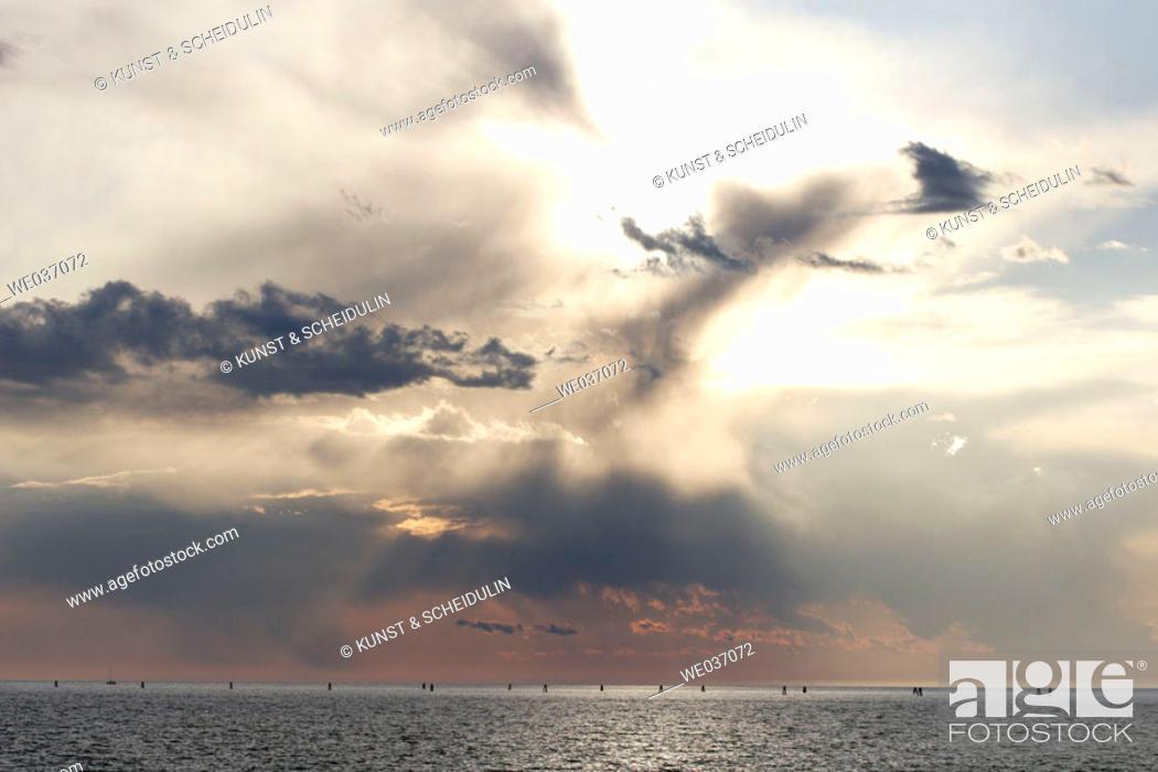 Stock Photo: Sky over the Adriatic sea just before a heavy shower. Grado, Regione Autonoma Friuli Venezia Giulia, Italy.