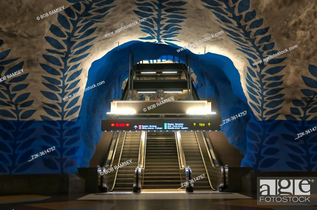Stock Photo: Pictures taken in Stockholm the capital of Sweden in North of Europe, T-Centralen subway blue line station.
