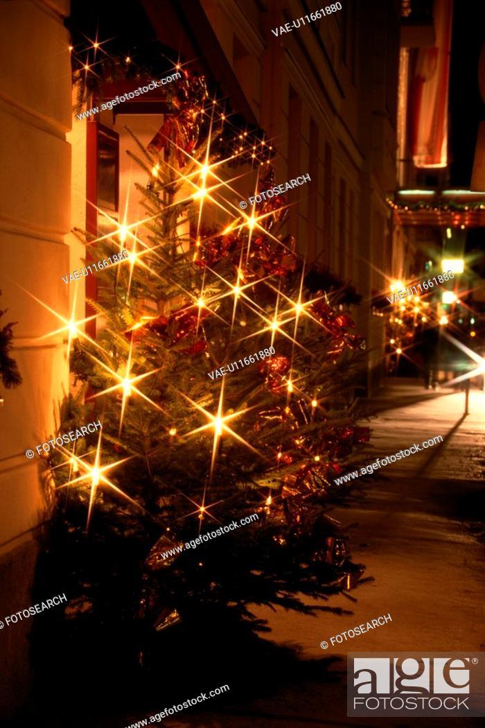 Stock Photo: Lights On Christmas Tree.