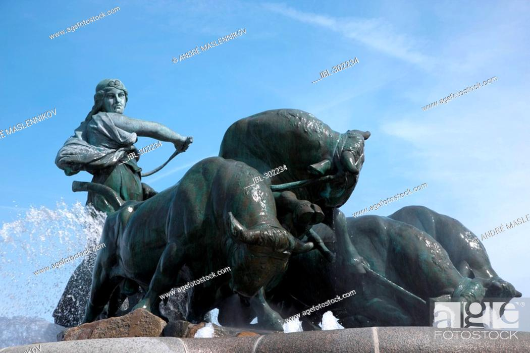Stock Photo: Gefion fountain in Copenhagen, Denmark.