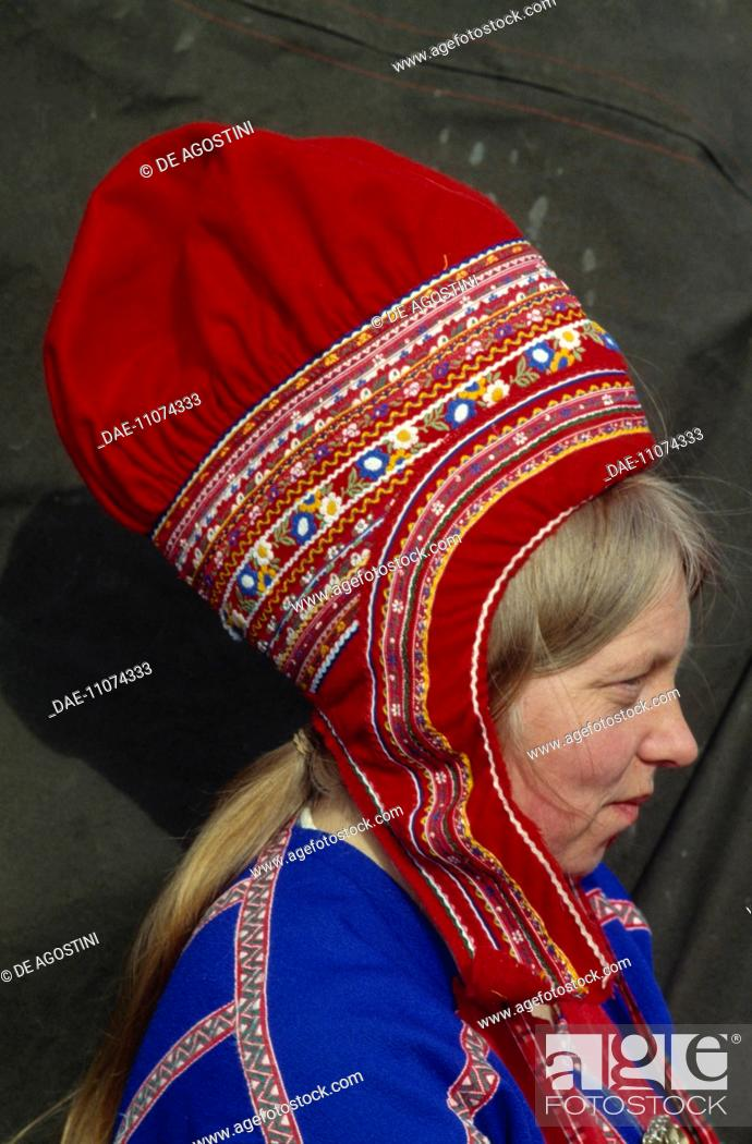 Stock Photo - Sami (Laplander) woman wearing a traditional hat 241b4a5f5d9