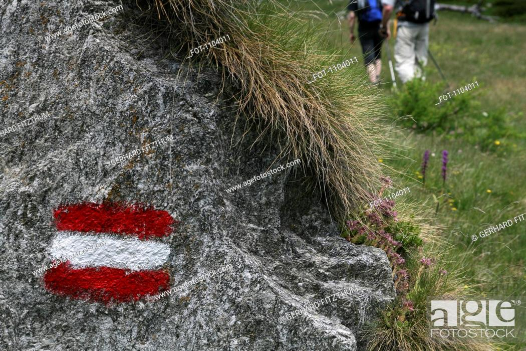 Stock Photo: Painted symbol on a rock marking a hiking trail, Piedmont, Italy.