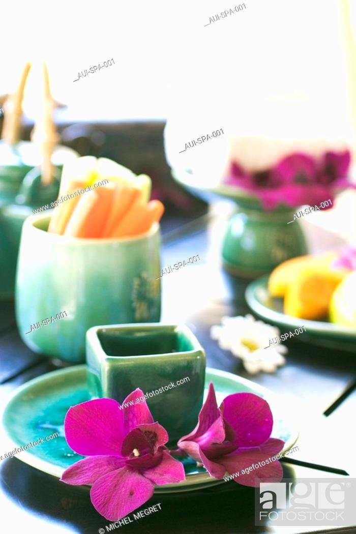 Stock Photo: Spa - Fruits and flowers.