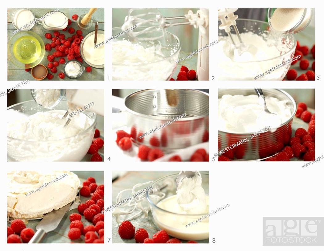 Stock Photo: How to make pavlova with berries (meringue cake with fresh raspberries and yoghurt, Australia).