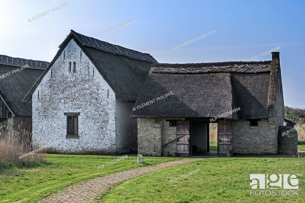 Stock Photo: Reconstructed 15th century smokehouse of medieval fishing village Walraversijde, open-air museum at Raversijde, West Flanders, Belgium.