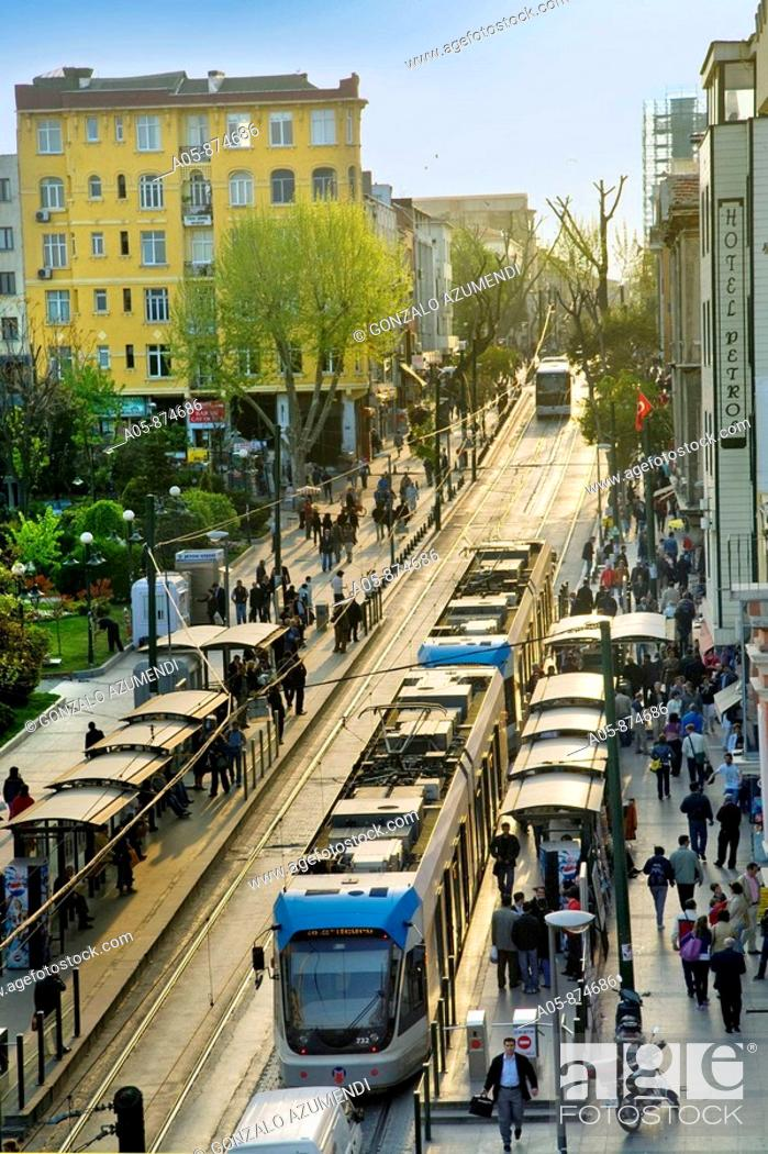Stock Photo: Divan Yolu Street, trams in Sultanahmet, Istanbul, Turkey.