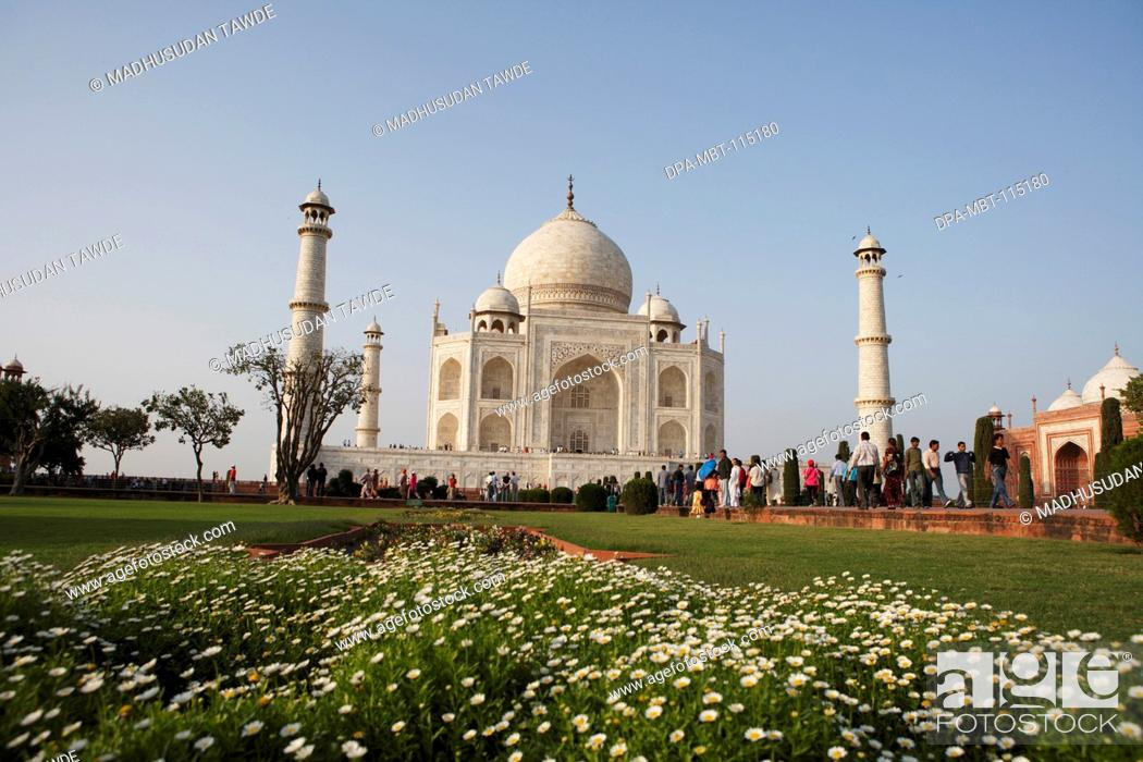 Stock Photo: Taj Mahal Seventh Wonders of World on the south bank of Yamuna river , Agra , Uttar Pradesh , India UNESCO World Heritage Site.