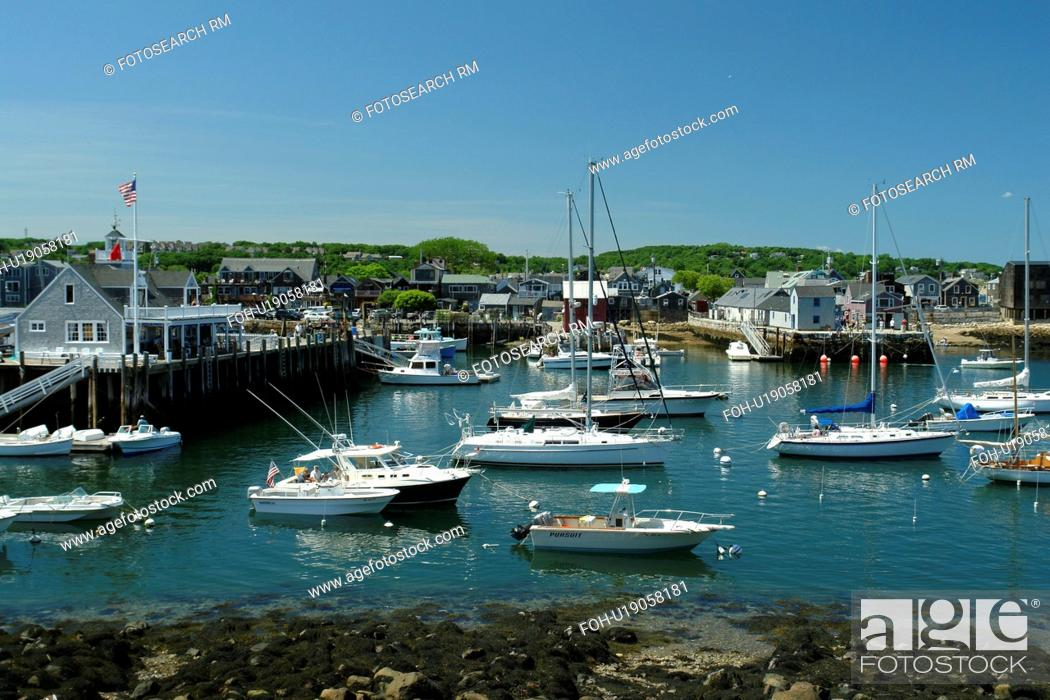 Stock Photo: Rockport, MA, Massachusetts, Cape Ann, harbor.