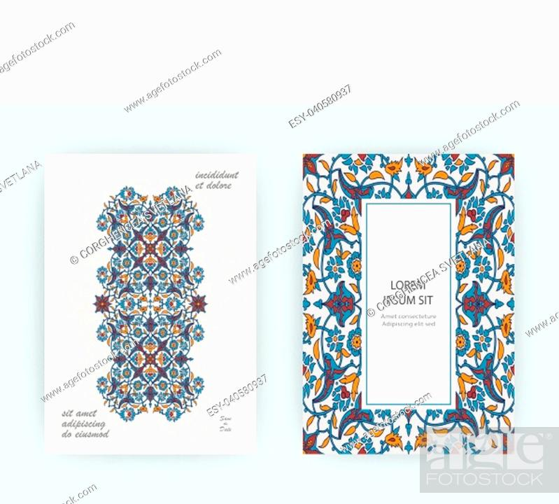 Stock Vector: Arabesque floral decoration print, border design template vector. Oriental flowers style pattern. Eastern motif element. Ornamental frame illustration.