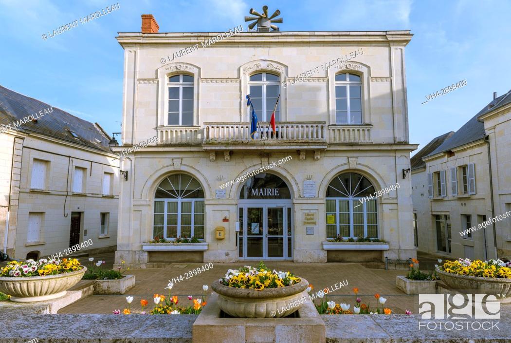 Stock Photo: Town Hall of Chouze-sur-Loire, Chinon District, Indre-et-Loire Department, Centre-Val de Loire Region, Loire valley, France, Europe.