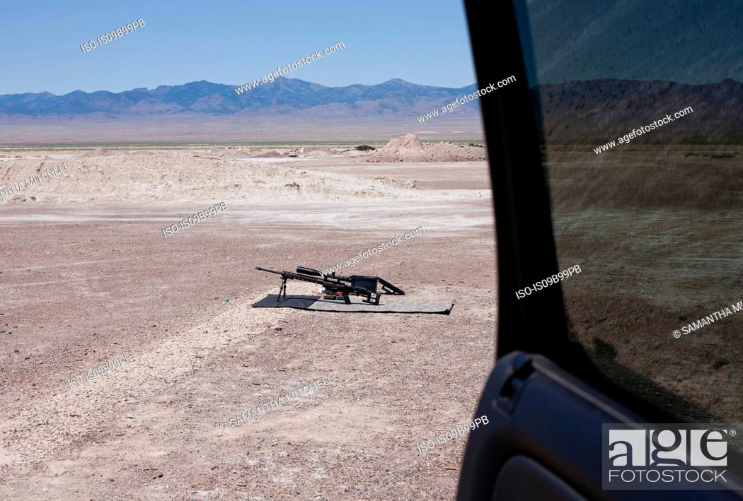 Stock Photo: View from car door of semi automatic weapon at firing range at Wendover, Utah, USA.