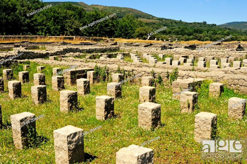 Stock Photo: Remains of the roman military camp Aquis Querquennis, Bande, Ourense, Galicia, Spain.