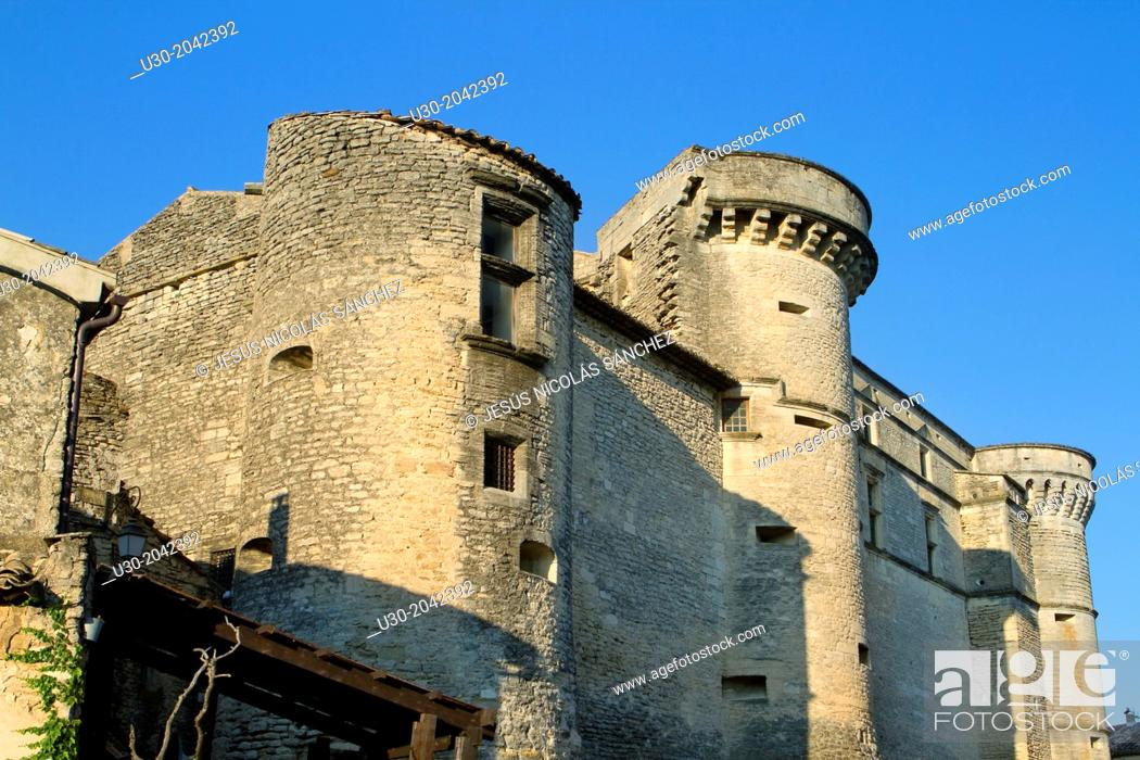 Stock Photo: Castle of Gordes village, labeled The Most Beautiful Villages of France, Luberon Natural Park. Vaucluse department, Provence-Alpes-Cote d'Azur region.