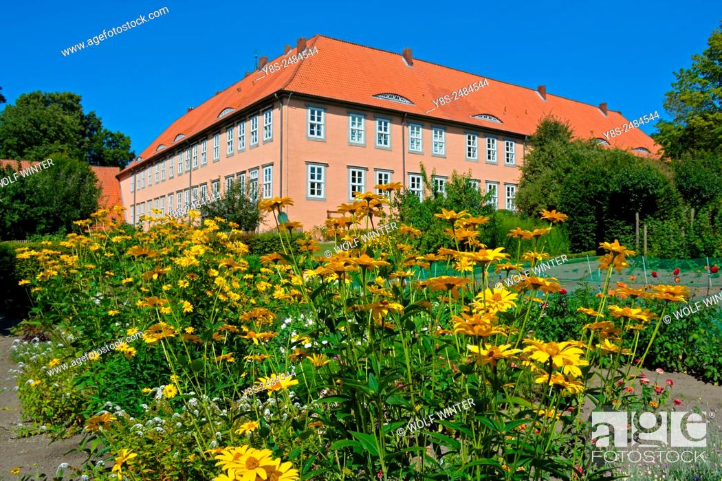 Stock Photo: Isenhagen monastery. Building and park. Hankensbuettel, Lower Saxony, Germany.