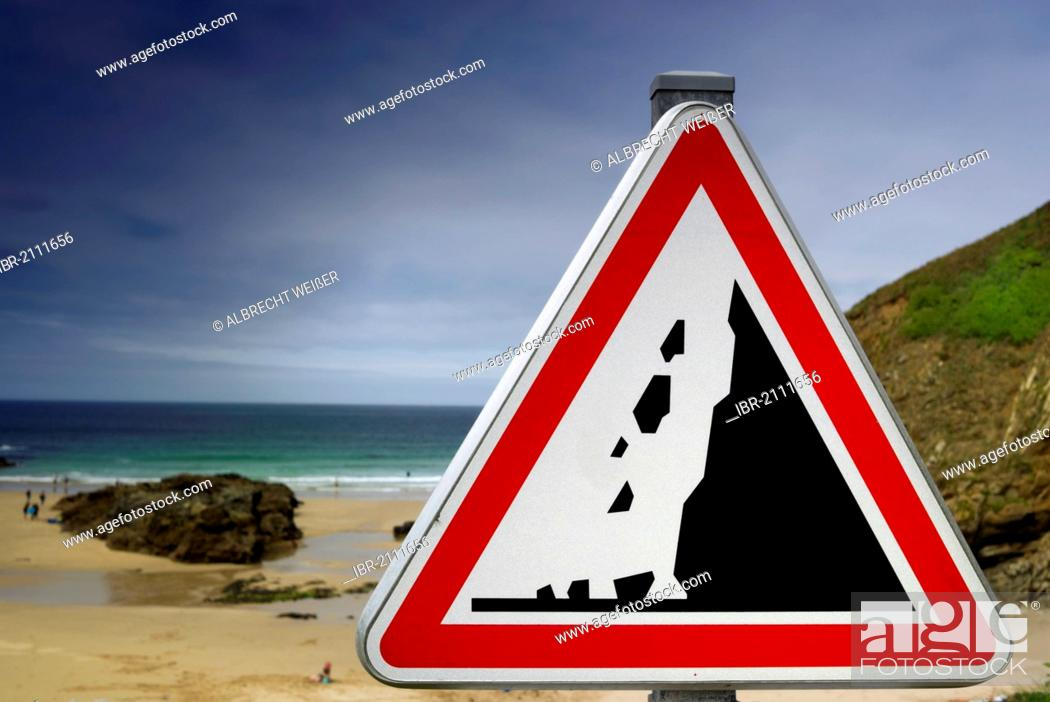 Stock Photo: Warning sign, caution falling rocks on the Atlantic beach, Finistere, Brittany, France, Europe, PublicGround.