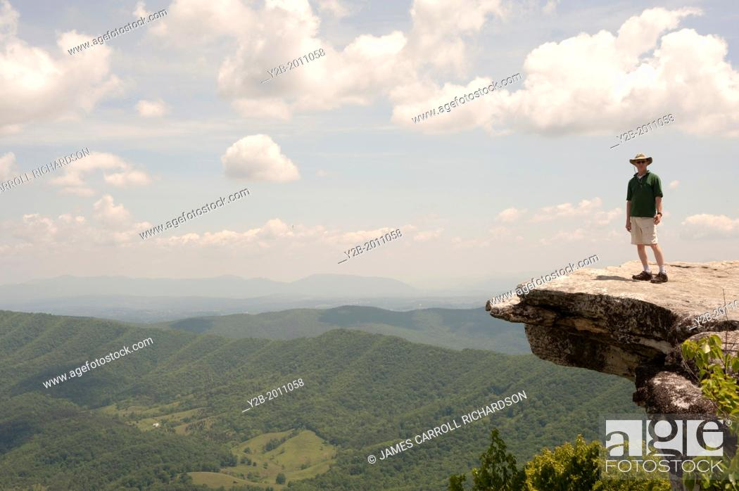 Stock Photo: Appalachian Trail McAfee Knob near Roanoke Virginia USA.