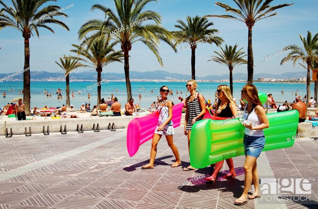 Stock Photo: Young girls , beach El Arenal , Palma de Mallorca.