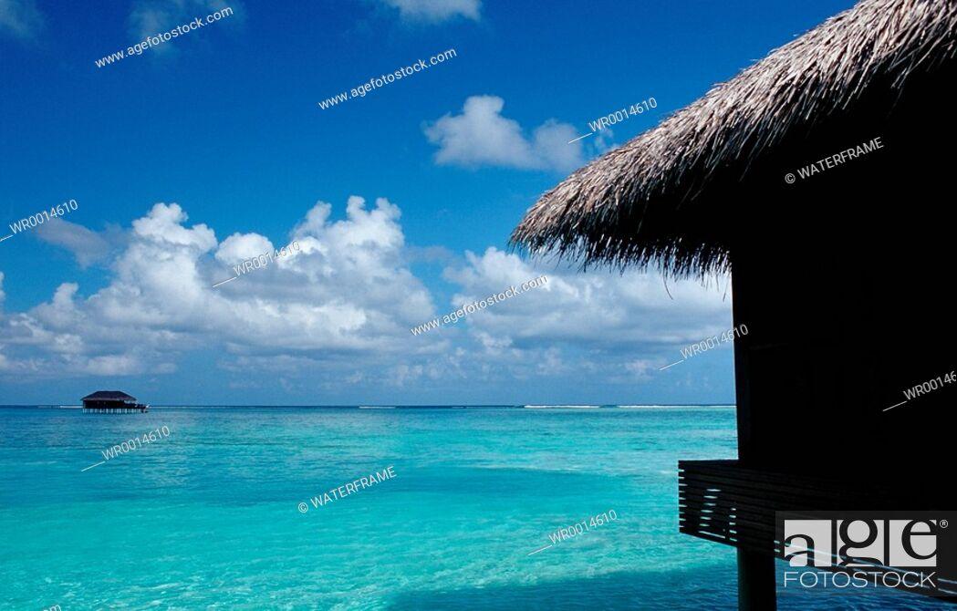 Stock Photo: Waterbungalow in Lagoon, Indian Ocean, Maldives.