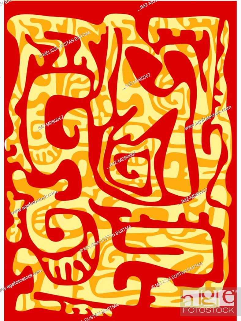 Stock Photo: A red and brown melting wax batik-like pattern.