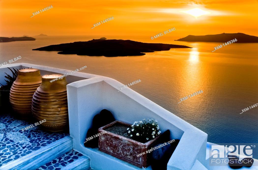 Stock Photo: Caldera view from Fira village at sunset  Santorini island, Cyclades islands, Aegean Sea, Greece, Europe.
