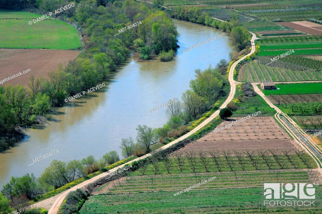 Stock Photo: Camino del Ebro River in Navarre.
