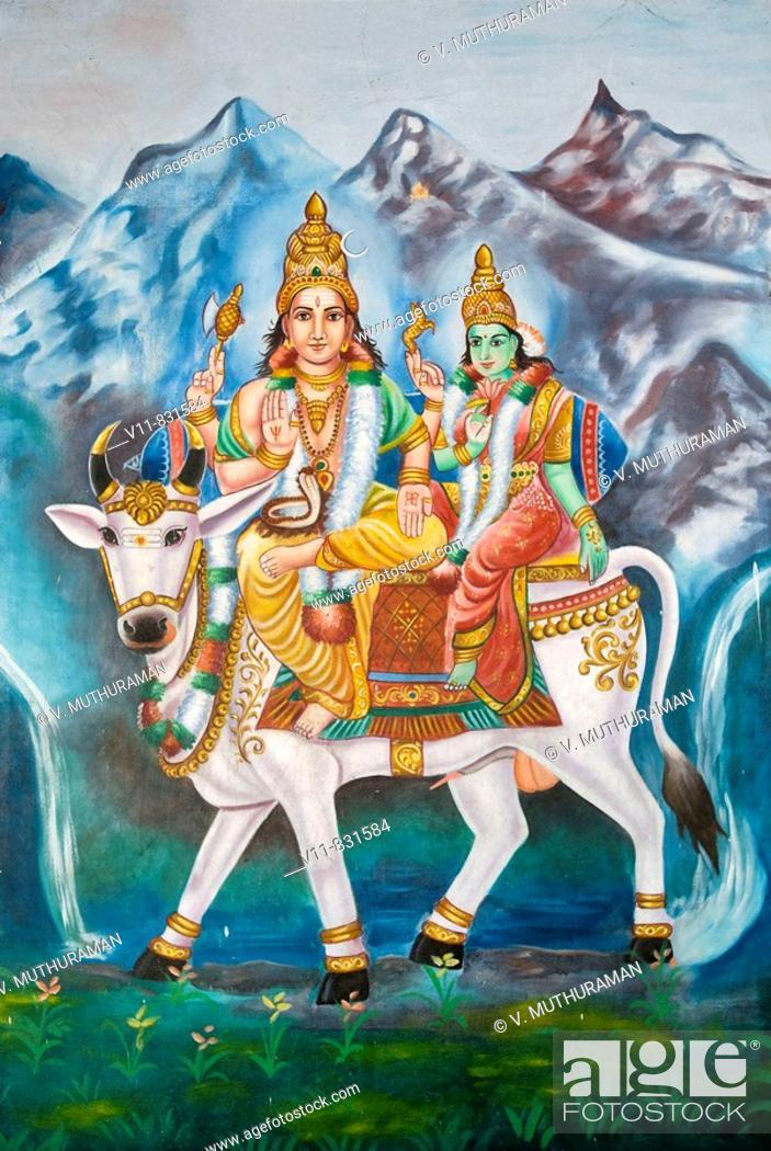 Stock Photo: Lord Shiva and Parvathi on Rishaba- Painting in Katchabeswarar Temple, Kanchipuram, Tamil Nadu.